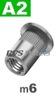 m6x14,5mm / per stuk - blindklinkmoer, cilinderkop A2