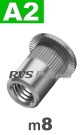 m8x16mm / per stuk - blindklinkmoer, cilinderkop A2