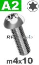 m4x10mm / per stuk - laagbolkopschroef TX A2