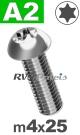 m4x25mm / per stuk - laagbolkopschroef TX A2