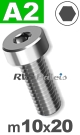 m10x20mm / per stuk - lage cilinderkopschroef A2