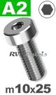 m10x25mm / per stuk - lage cilinderkopschroef A2