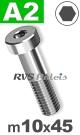 m10x45mm / per stuk - lage cilinderkopschroef A2