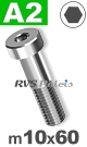 m10x60mm / per stuk - lage cilinderkopschroef A2