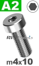 m4x10mm / per stuk - lage cilinderkopschroef A2