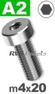 m4x20mm / per stuk - lage cilinderkopschroef A2