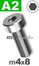 m4x8mm / per stuk - lage cilinderkopschroef A2