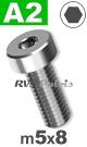 m5x8mm / per stuk - lage cilinderkopschroef A2