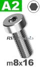m8x16mm / per stuk - lage cilinderkopschroef A2