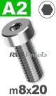 m8x20mm / per stuk - lage cilinderkopschroef A2