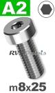 m8x25mm / per stuk - lage cilinderkopschroef A2