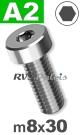 m8x30mm / per stuk - lage cilinderkopschroef A2