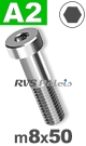 m8x50mm / per stuk - lage cilinderkopschroef A2