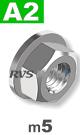 m5 / per stuk - zeskant combimoer met draaibare ring A2