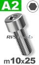 m10x25mm / per stuk - cilinderkopschroef A2