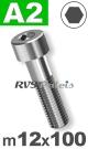 m12x100mm / per stuk - cilinderkopschroef A2