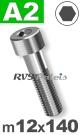 m12x140mm / per stuk - cilinderkopschroef A2