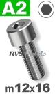 m12x16mm / per stuk - cilinderkopschroef A2