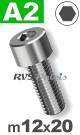 m12x20mm / per stuk - cilinderkopschroef A2