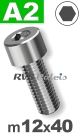m12x40mm / per stuk - cilinderkopschroef A2