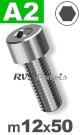 m12x50mm / per stuk - cilinderkopschroef A2