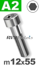 m12x55mm / per stuk - cilinderkopschroef A2