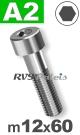 m12x60mm / per stuk - cilinderkopschroef A2