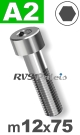 m12x75mm / per stuk - cilinderkopschroef A2