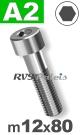 m12x80mm / per stuk - cilinderkopschroef A2