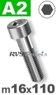 m16x110mm / per stuk - cilinderkopschroef A2