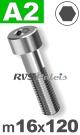 m16x120mm / per stuk - cilinderkopschroef A2