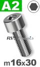 m16x30mm / per stuk - cilinderkopschroef A2