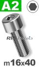 m16x40mm / per stuk - cilinderkopschroef A2