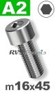 m16x45mm / per stuk - cilinderkopschroef A2