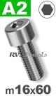 m16x60mm / per stuk - cilinderkopschroef A2