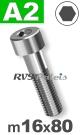 m16x80mm / per stuk - cilinderkopschroef A2