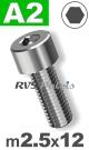 m2,5x12mm / per stuk - cilinderkopschroef A2