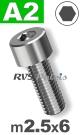m2,5x6mm / per stuk - cilinderkopschroef A2