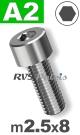 m2,5x8mm / per stuk - cilinderkopschroef A2