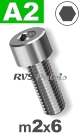 m2x6mm / per stuk - cilinderkopschroef A2