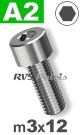 m3x12mm / per stuk - cilinderkopschroef A2