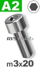 m3x20mm / per stuk - cilinderkopschroef A2