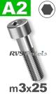 m3x25mm / per stuk - cilinderkopschroef A2