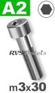 m3x30mm / per stuk - cilinderkopschroef A2
