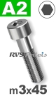 m3x45mm / per stuk - cilinderkopschroef A2