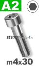 m4x30mm / per stuk - cilinderkopschroef A2