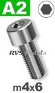 m4x6mm / per stuk - cilinderkopschroef A2