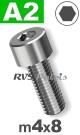 m4x8mm / per stuk - cilinderkopschroef A2