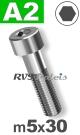 m5x30mm / per stuk - cilinderkopschroef A2