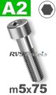 m5x75mm / per stuk - cilinderkopschroef A2